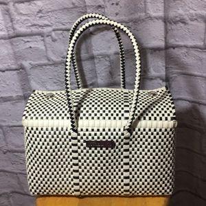 HunaB Ku Handwoven Large Basket Weave Bag~ Mexico